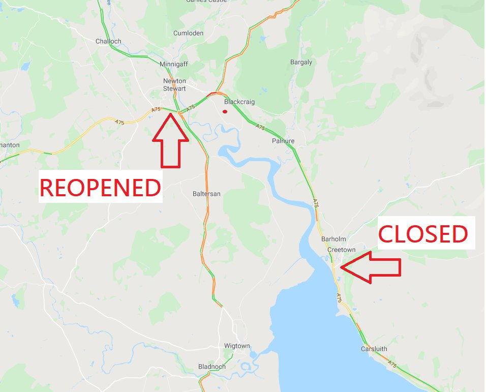 test Twitter Media - @ScotTranserv @dgcouncil ❗️UPDATE⌚️19:55  #A75 remains CLOSED⛔️ both ways at Creetown due to an RTC.  However the road has now REOPENED at Newton Stewart❗️ Drivers should continue to seek an alt route for the closure at Creetown.  @ScotTranserv @dgcouncil https://t.co/4waNzKUA1Y