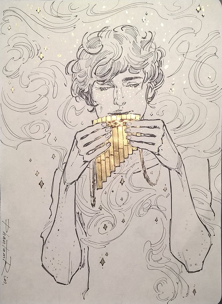 Day 14 - The Musician (Ben from The Darkest Part of the Forest by @hollyblack ) #inktober #inktober2019 #TheDarkestPartOfTheForest #musician #BenEvans #reedpipes #boy #fantasy #books #YA #HollyBlack #fanart #art #illustration #traditional #ink #gold #PhantomRin