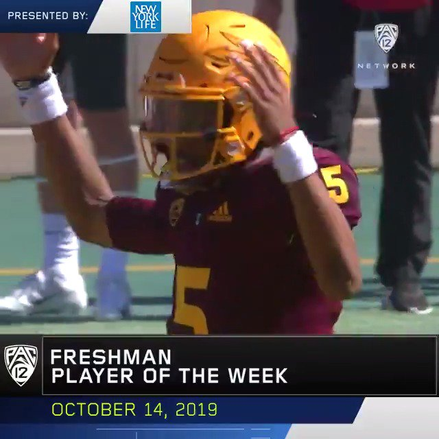 For the 𝐓𝐇𝐈𝐑𝐃 time, @ASUFootballs @JayD__5 is the Pac-12 Freshman of the Week 😈 🔱