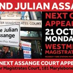 On Monday the 21st October from 9am #JulianAssange is expected to be attending court in person. Imagine how much strength you can lend him if he sees or hears his supporters, or even just hears about them. YOU could help save his life. Be there to #FreeAssange!  Pass it on.