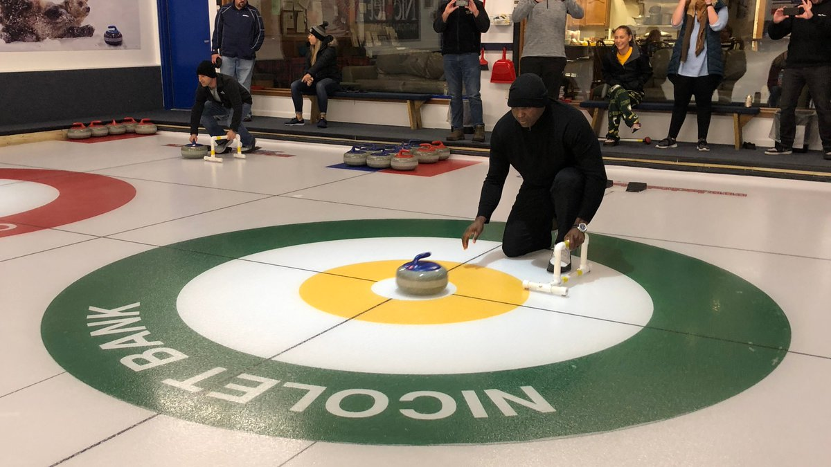 Our ESPN #MNF production team continued its Green Bay home game tradition this weekend: a curling outing at @CurlGB. Heres @ESPNBooger on the curling sheet. #DETvsGB