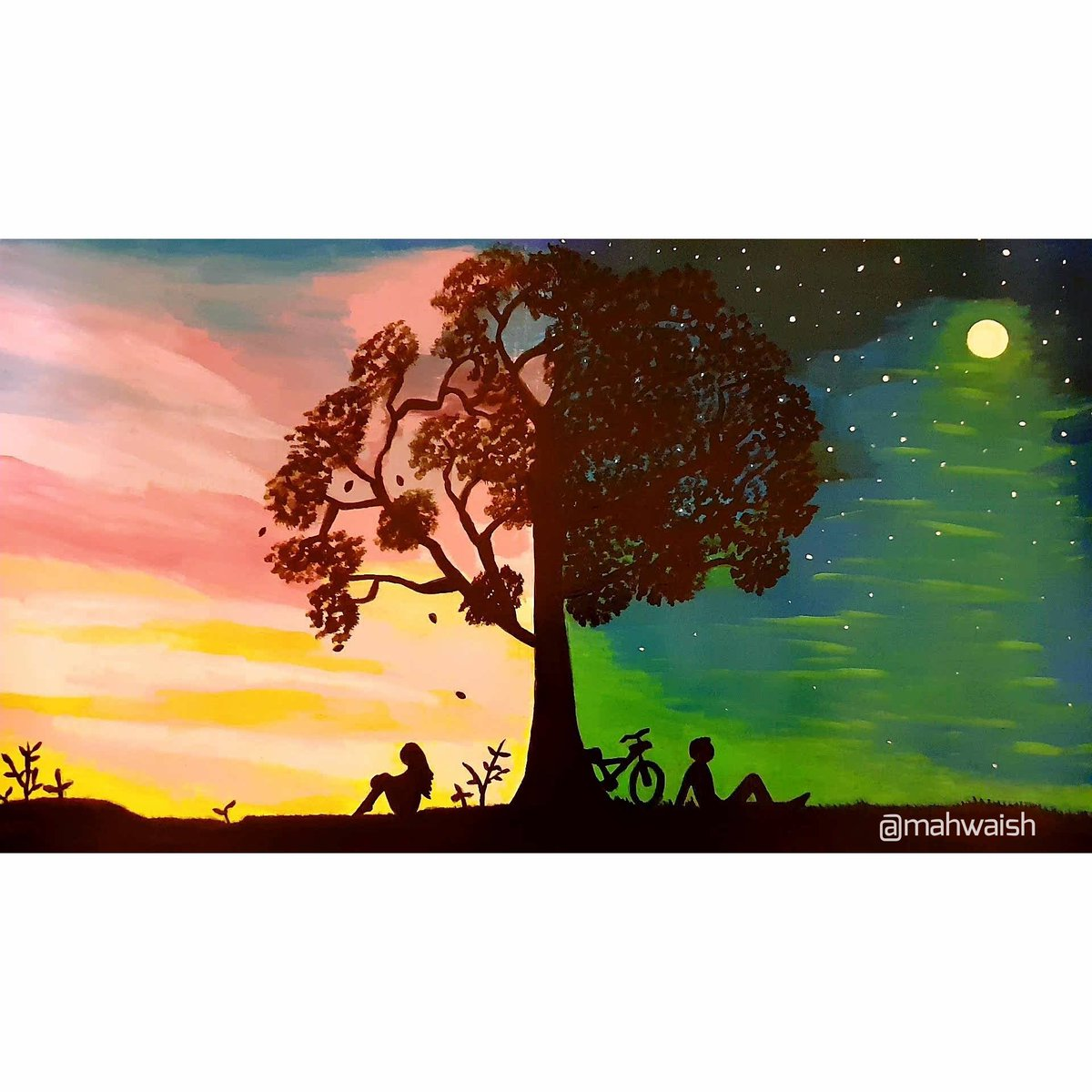 """""""I know you're somewhere out there, somewhere far away""""~Bruno Mars (Talking to the moon) Different worlds painted by me. Inspired by demasiadomar art. #art #painting #artists #ArtistOnTwitter #acrylicpainting #paint #artist #artlover #artistic #paintings #BrunoMars #music #arts"""