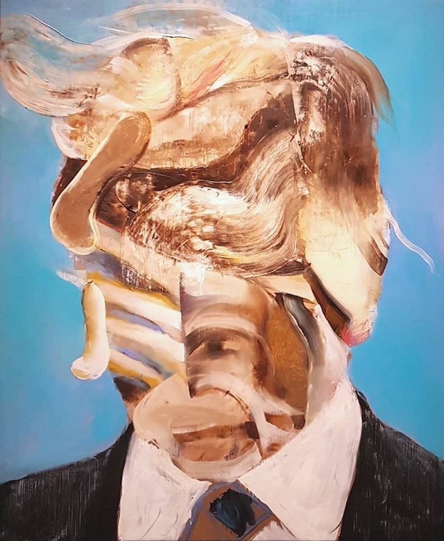 #AdrianGhenie #untitled #OilOnCanvas. The #work is exhibited in the show #TheBattleBetweenCarnivalAndFeast at @fondazionegcini in #Venice, text by @lucamassimobarbero. Is the guy in the #painting #DonaldTrump? #ContemporaryArt #ContemporaryPainting https://t.co/G9Axs7LU8Q