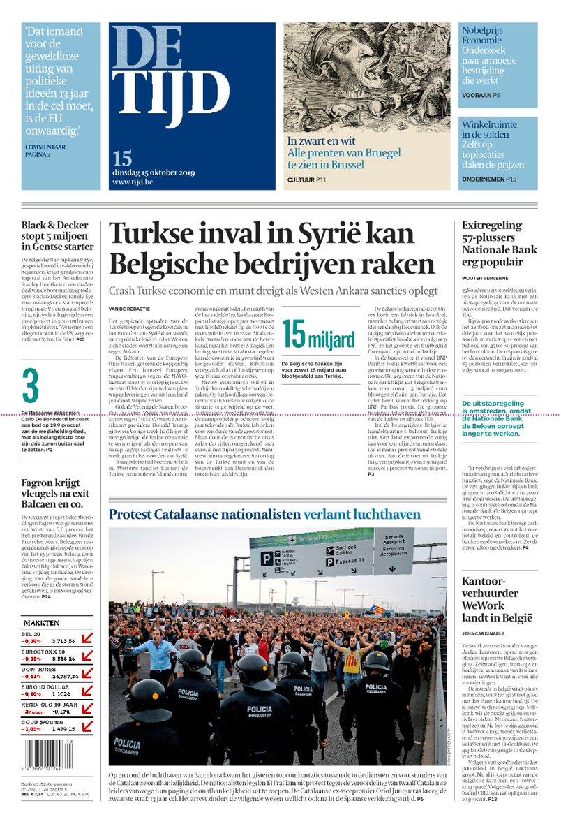 test Twitter Media - Vandaag op de voorpagina van De Tijd:  Turkse inval in Syrië kan Belgische bedrijven raken | Protest Catalaanse nationalisten verlamt luchthaven  Lees de krant op uw smartphone of tablet: https://t.co/x779tlZeBc https://t.co/hFjNPY749E