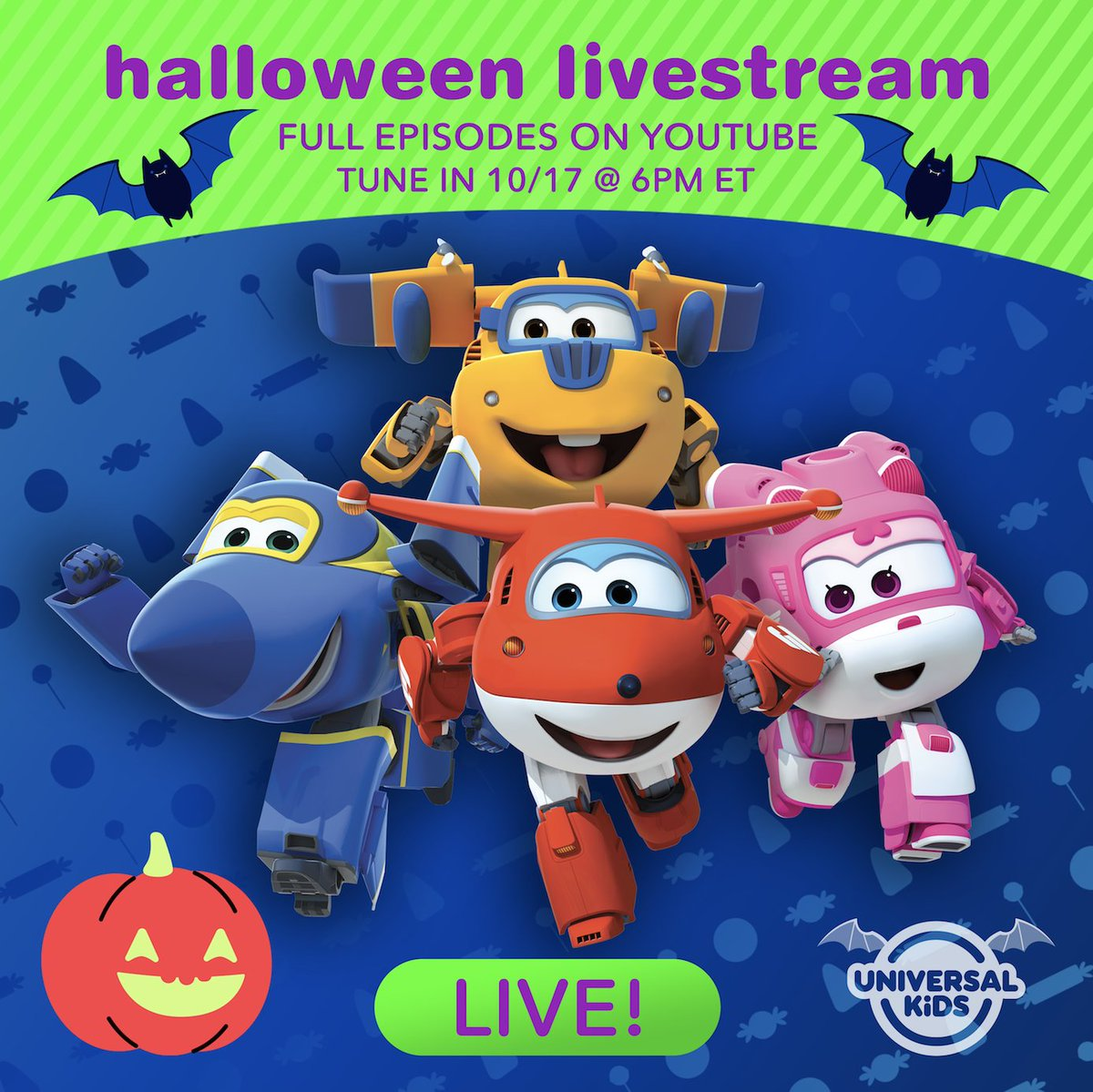 Fly into the spooktacular world of the #SuperWings during our HALLOWEEN LIVESTREAM: Thursday, October 17 at 6PM ET on YouTube!   RSVP here:  http:// po.st/SuperWings      <br>http://pic.twitter.com/NVZLeSiS7x
