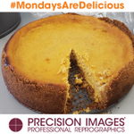 Even though we are working today, we're okay with it because #MondaysAreDelicious here at #PrecisionImages -- Today #ChefDavid made us two creamy & amazing Pumpkin Cheesecakes! We are sooo lucky!  #pumpkin #cheesecake #BestJobEver