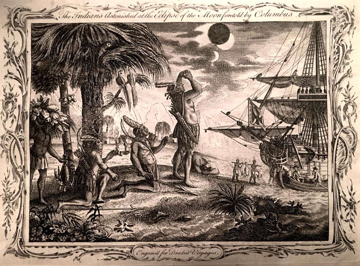 Want another reason to dislike Columbus? Before returning on his fourth voyage to the New World, he knew of an impending lunar eclipse and threatened to make the Full Moon disappear if the local natives didn't give him their hard-earned food stocks for his voyage back to Spain. <br>http://pic.twitter.com/OtGf6hJAZq