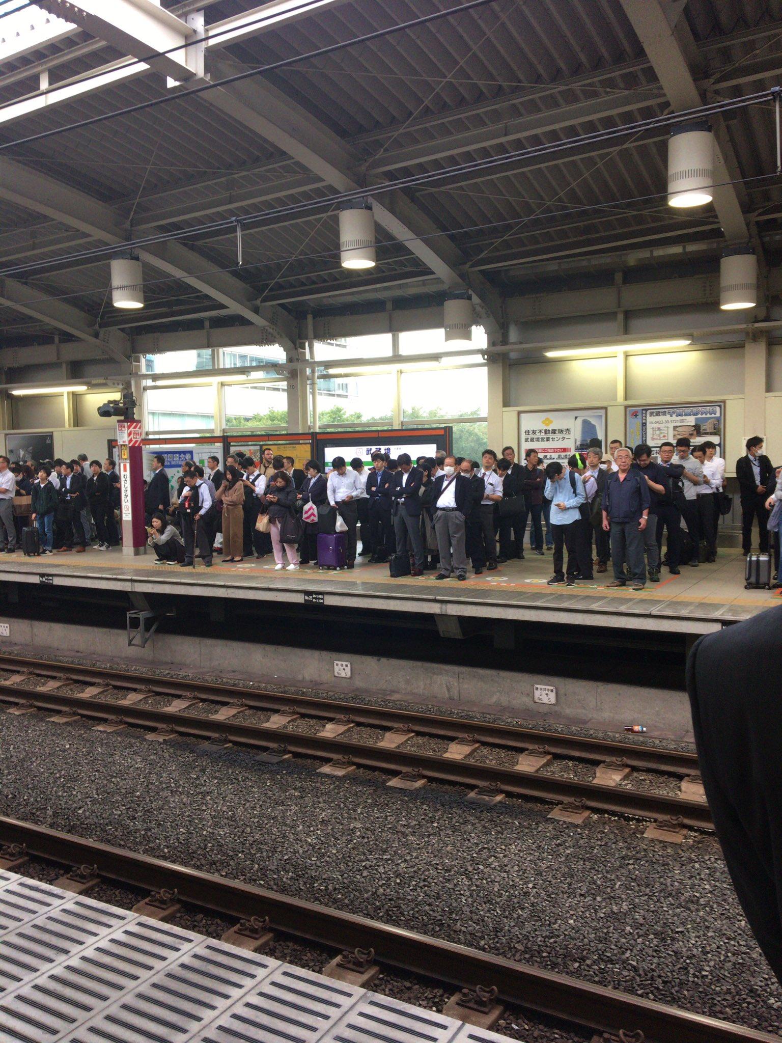 中央線の武蔵境駅で人身事故が起きた現場の画像