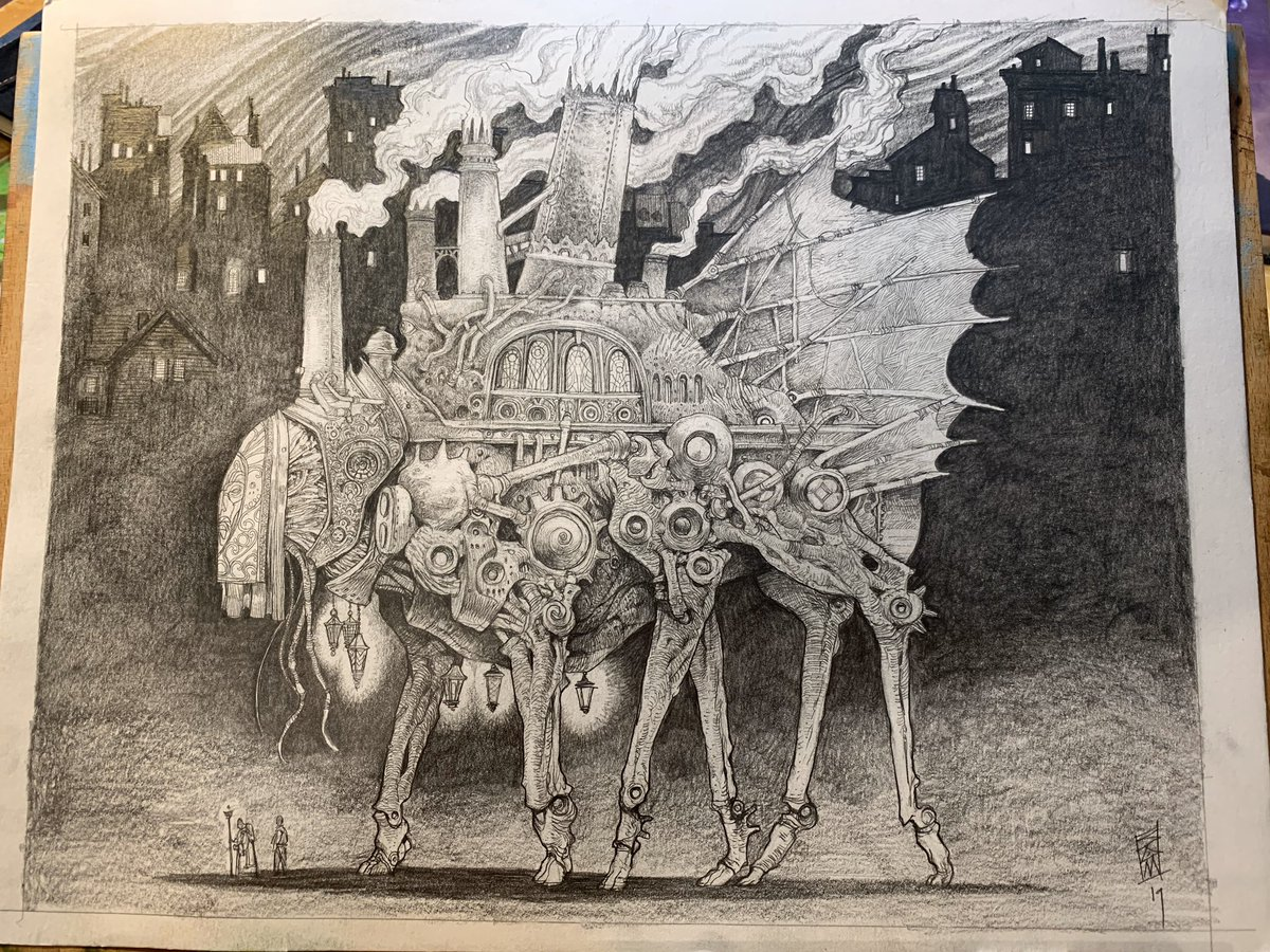 """Tomorrow at 10:30 AM my drawing """"The Steam-Walker"""" goes live on @everydayorig !!! This is your chance to own one of my original drawings complete with frame. This is. A brand new piece!"""