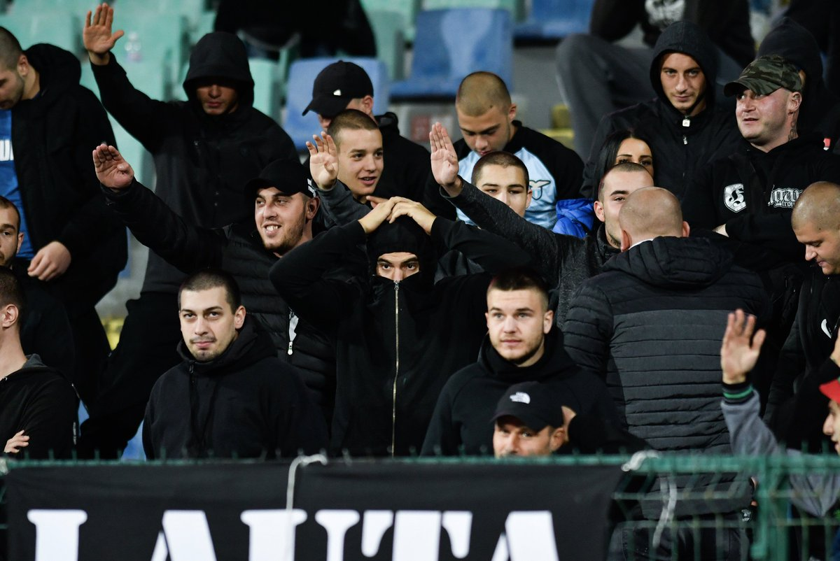 Racist soccer fans in Bulgaria made monkey noises and chants at Black players from England, forcing refs to twice halt the match.  UEFA has a 3-step protocol allowing refs to suspend or stop a match due to racism. The league says it will investigate this incident. <br>http://pic.twitter.com/dslNwhC1Ms