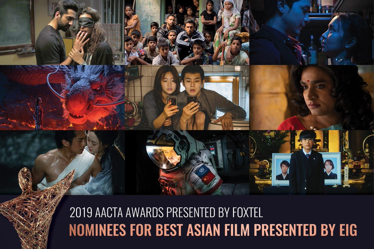 The nominees for the 2019 AACTA Award for Best Asian Film presented by Eureka International Group (EIG) have been announced! From box-office hits to film festival favourites, learn about the 9 incredible nominees at  http:// aacta.org/connect/nomine es-for-the-2019-aacta-award-for-best-asian-film-announced/   … <br>http://pic.twitter.com/gRHjOsiOYG
