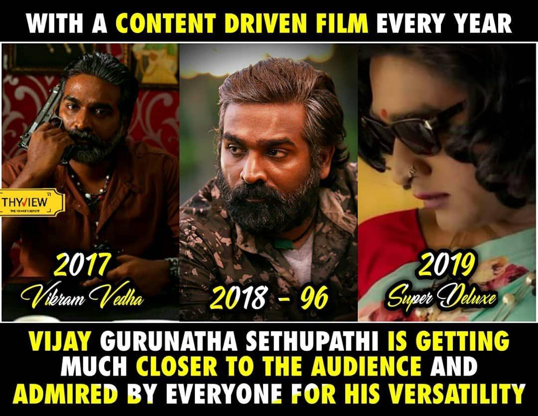 As seen on @Thyview @VijaySethuOffl 🧔🏽🧒🏽👩🏽#VikramVedha #96TheMovie #SuperDeluxe #MakkalSelvan #VijaySethupathi Garu #Kollywood #Tollywood