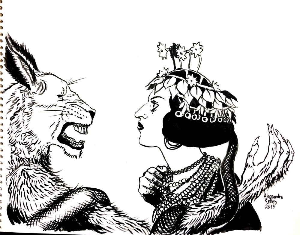 #InktoberDay14 with @DoryWhynot prompt #CursedCrown  A #Mesopotamian #mystery - A queen in an #Akkadian crown faces the #evilgod and #motherofmonsters #Lamashtu as a punishment for pride.  #mythology #Assyrianmythology #archaeology #youcallthisarcheology? #orientalinstitute