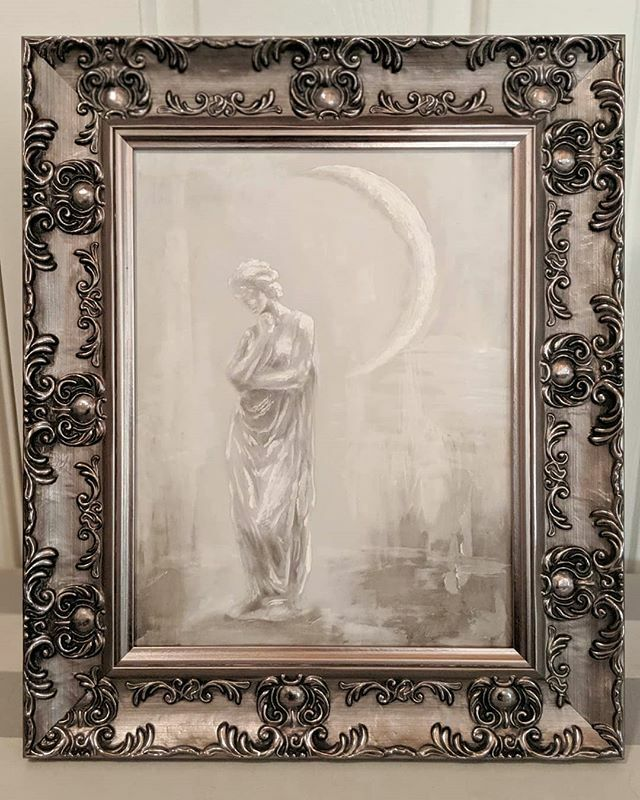 Athena as Claire de Lune 11x14 in frame, oil and acrylic Available, DM for inquiries  #artwork #artist #paintings #fineart #art #athena # oilpainting #artforsale #artforsalebyartist #artoftheday #classical #rennaissance #mythology #debussy #artcollector #collector #design #d…
