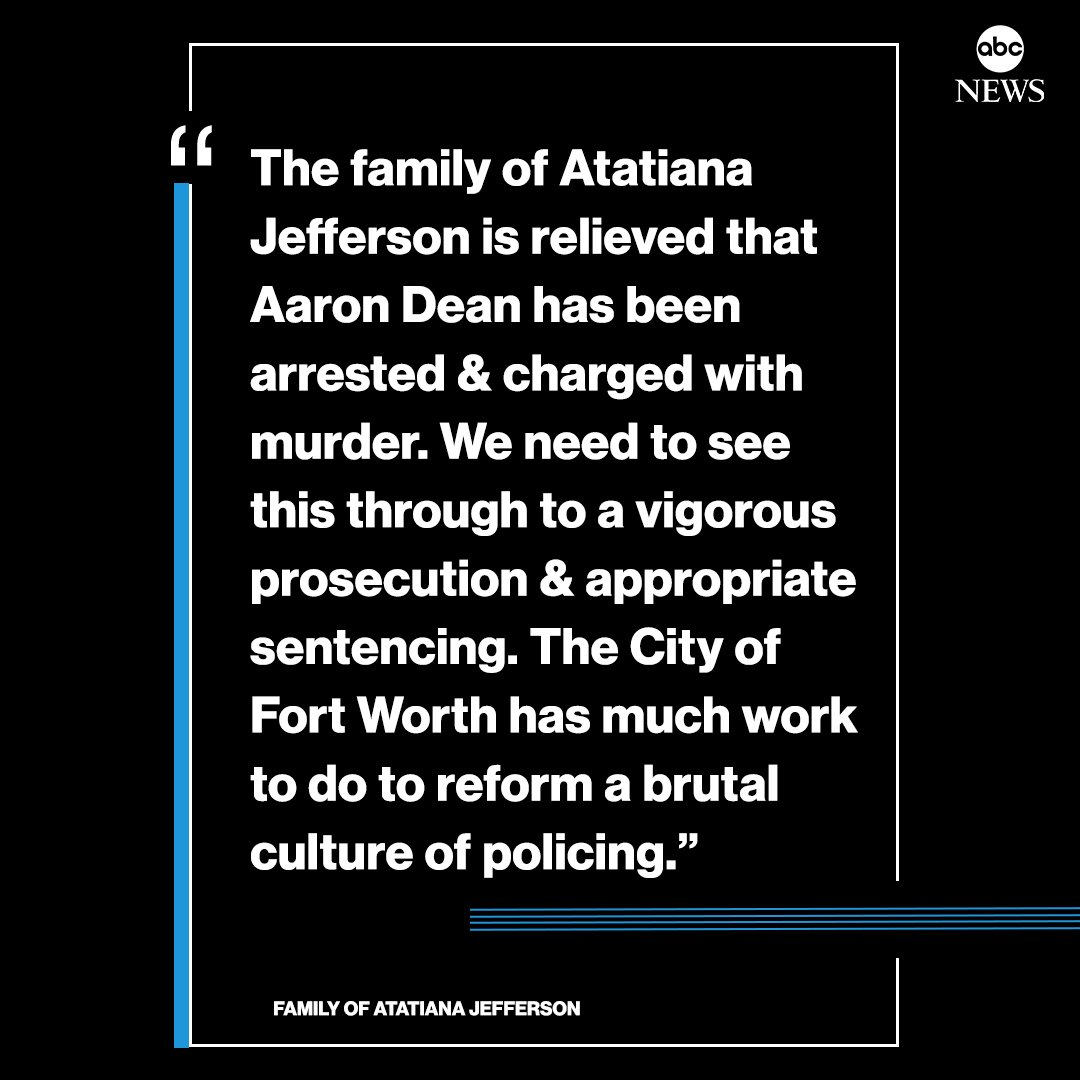 "Family of Atatiana Jefferson issues statement following arrest of Fort Worth police officer: ""We need to see this through to a vigorous prosecution & appropriate sentencing."" https://abcn.ws/2ppmReB"