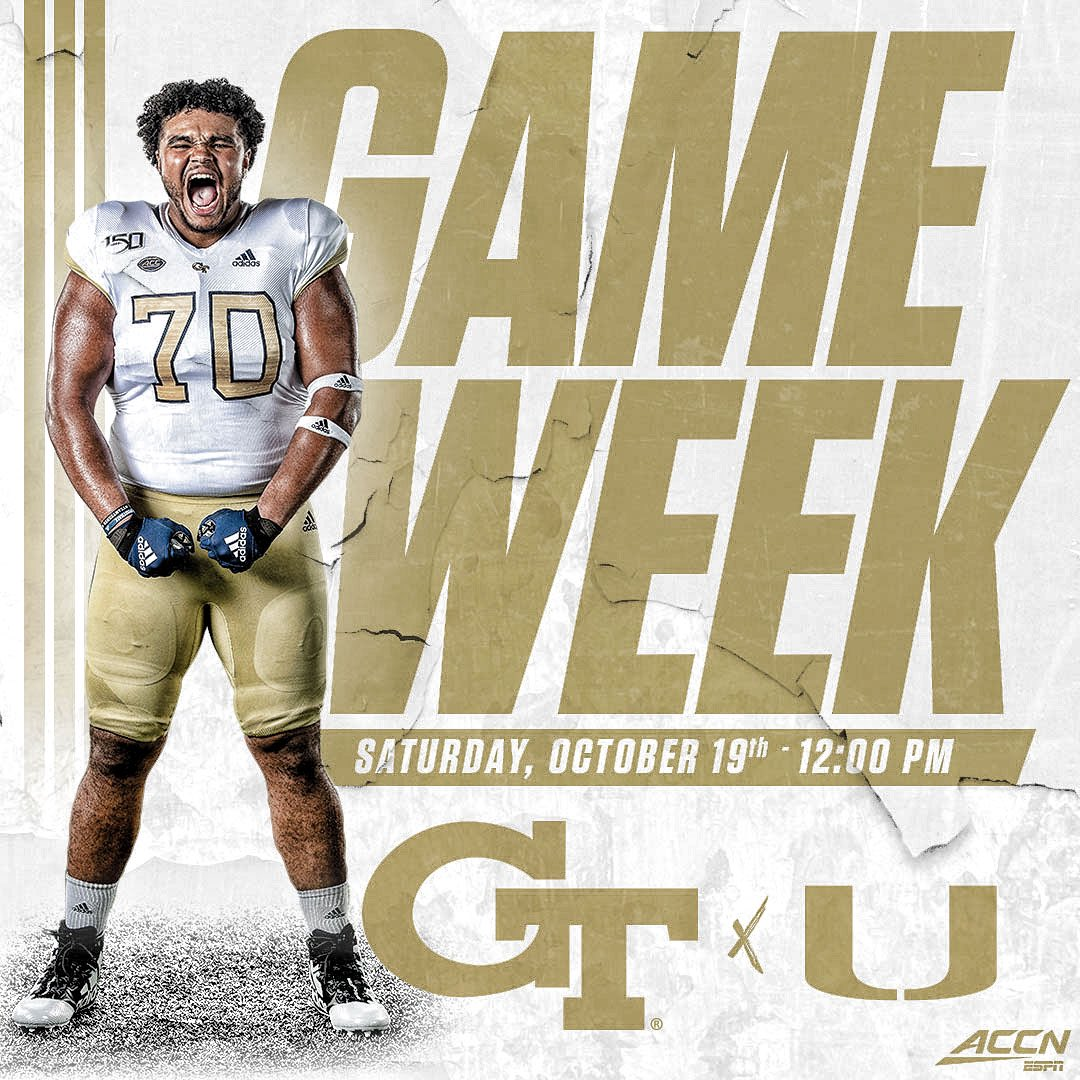 #PtBD 🏈⬇️ it's GAME WEEK!!! @GeorgiaTechFB #404theCULTURE at Miami 📅 Oct. 19th ⏱ 12 PM 📺 @accnetwork #toGeTherWEswarm