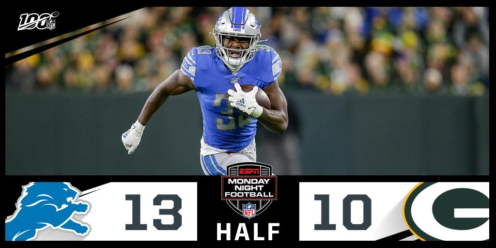 The @Lions lead by three at the half! #OnePride 📺: #DETvsGB on ESPN #MNF 📱: NFL app // Yahoo Sports app Watch free on mobile: on.nfl.com/D5d80R