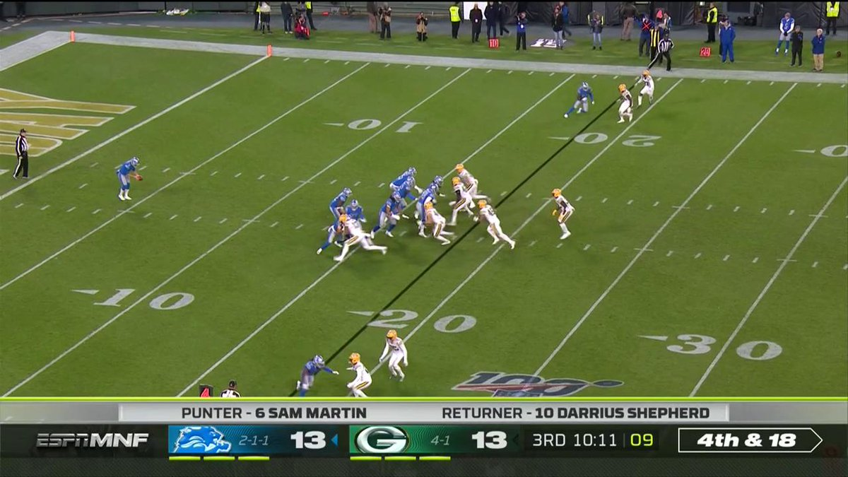 Detroit ball! #OnePride The @Lions recover the fumble on the punt return. 📺: #DETvsGB on ESPN #MNF 📱: NFL app // Yahoo Sports app Watch free on mobile: on.nfl.com/D5d80R