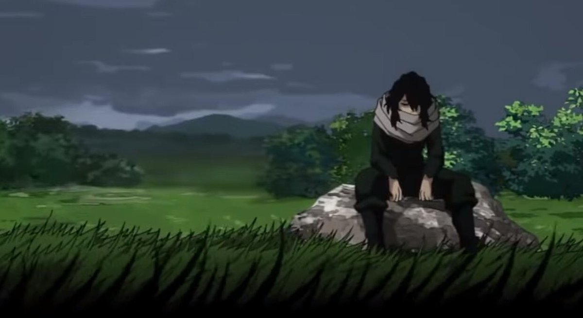 1K retweets and I'll sit alone on a rock in an empty field under an iron sky, grappling with those same old feelings again #MyHeroAcademia #aizawa