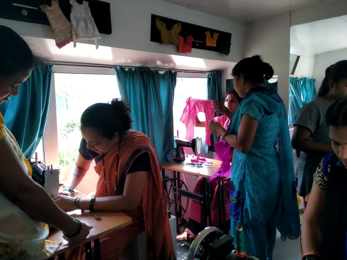#Tailoring class underway in the #MannDeshi Mobile #Business School Bus by the staff of our Kamothe branch in #NaviMumbai. These #women are all aspiring #entrepreneurs who will have multiple business opportunities after the successful completion of their course.  @chetnavsinha