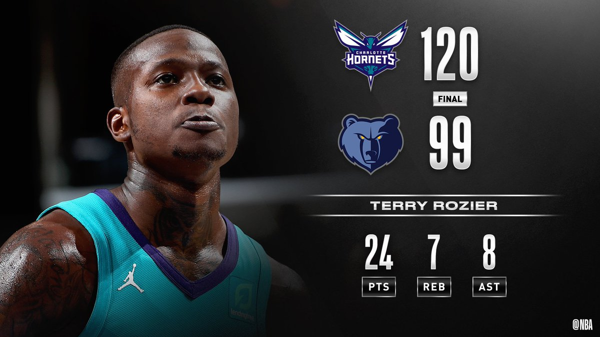 #RT @NBA: @MiamiHEAT The @hornets win on the road in Memphis behind 24 PTS, 7 REB, 8 AST from Terry Rozier! #NBAPreseason   Dwayne Bacon: 21 PTS, 5 AST Devonte' Graham: 18 PTS, 5 AST Brandon Clarke: 16 PTS, 12 REB Ja Morant: 15 PTS, 6 AST