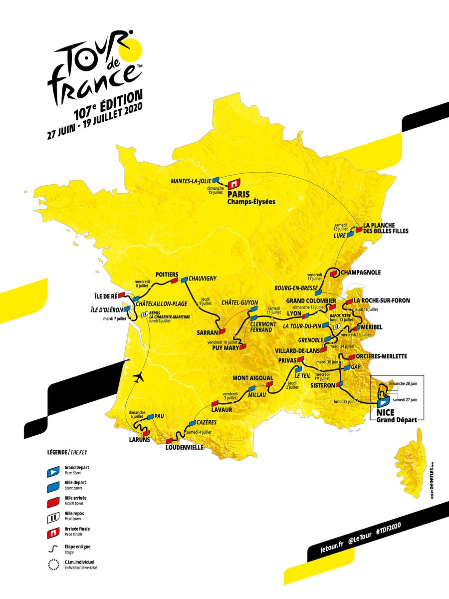 🤩 Here it is, the route of the #TDF2020 🤩 🤩 Voici le parcours du #TDF2020 🤩