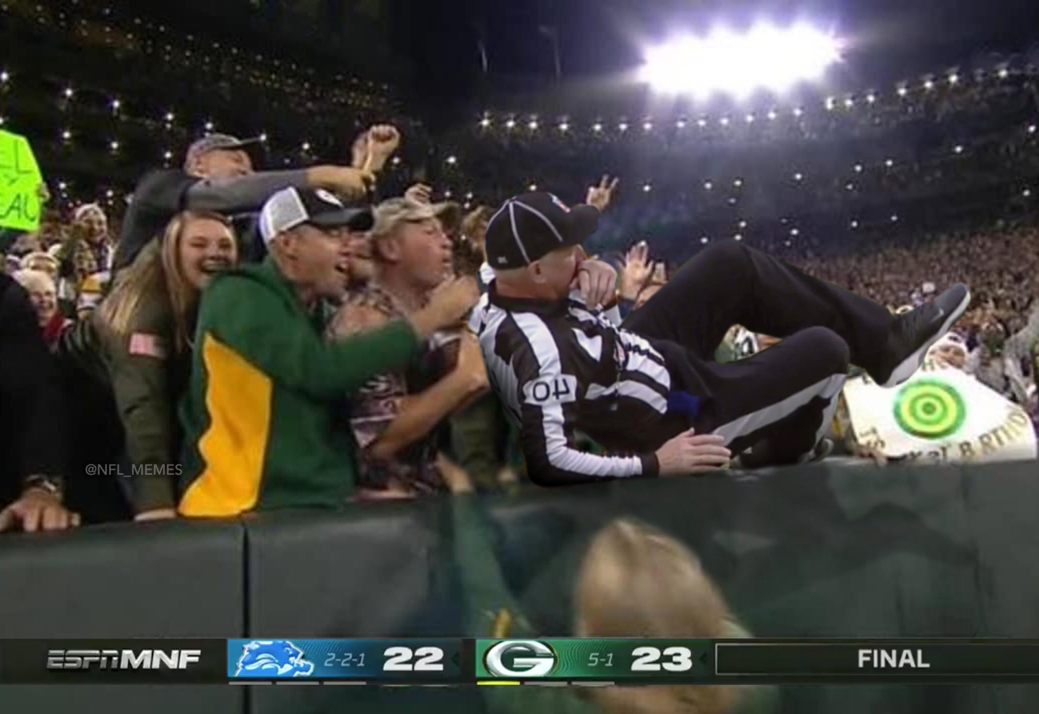 """NFL Memes on Twitter: """"Ridiculous: Ref spotted doing the Lambeau Leap after  helping lead the Packers to victory… """""""
