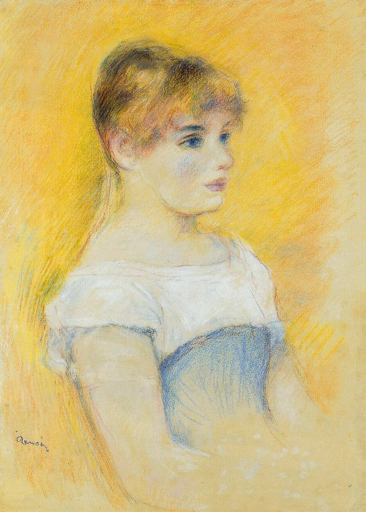 Young Girl in a Blue Corset #renoir #impressionism