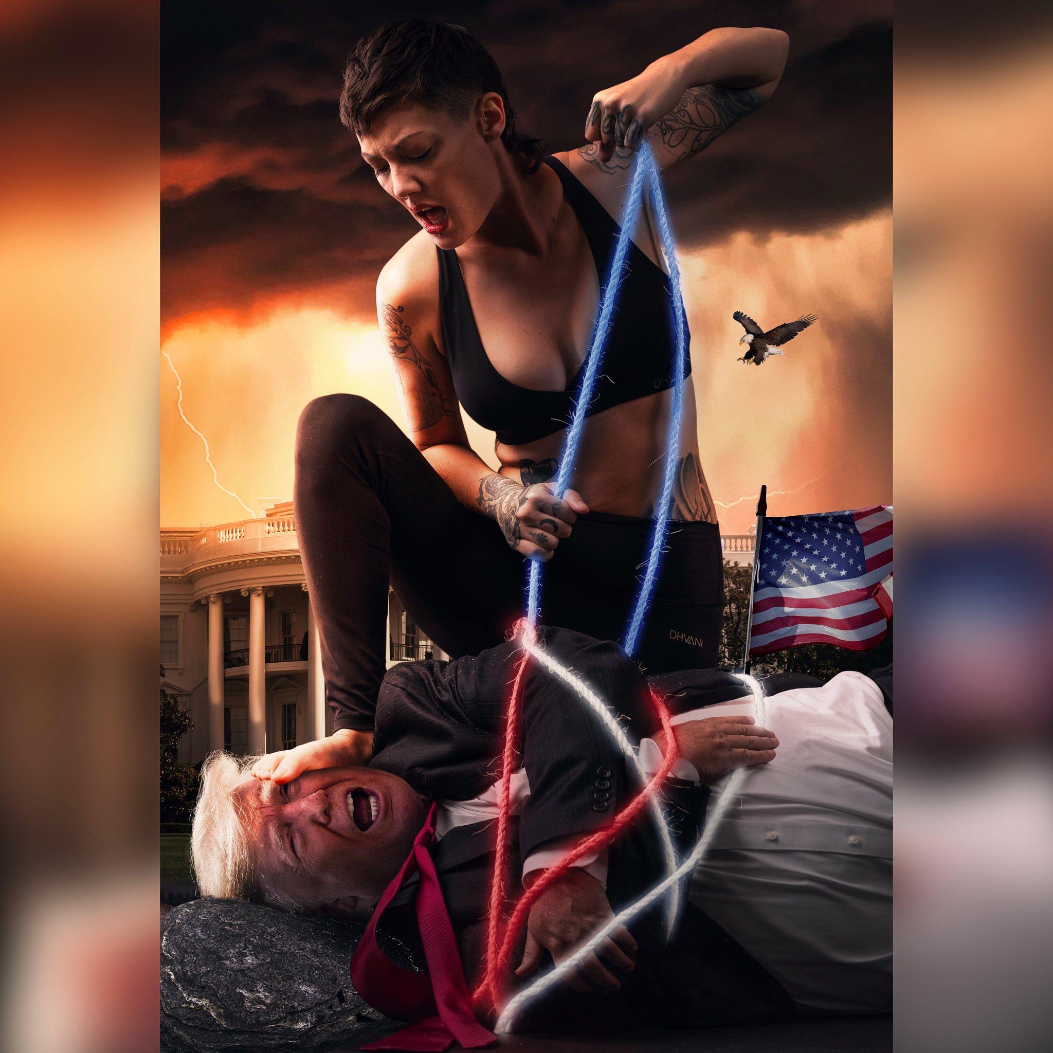 Woman tying up President Trump