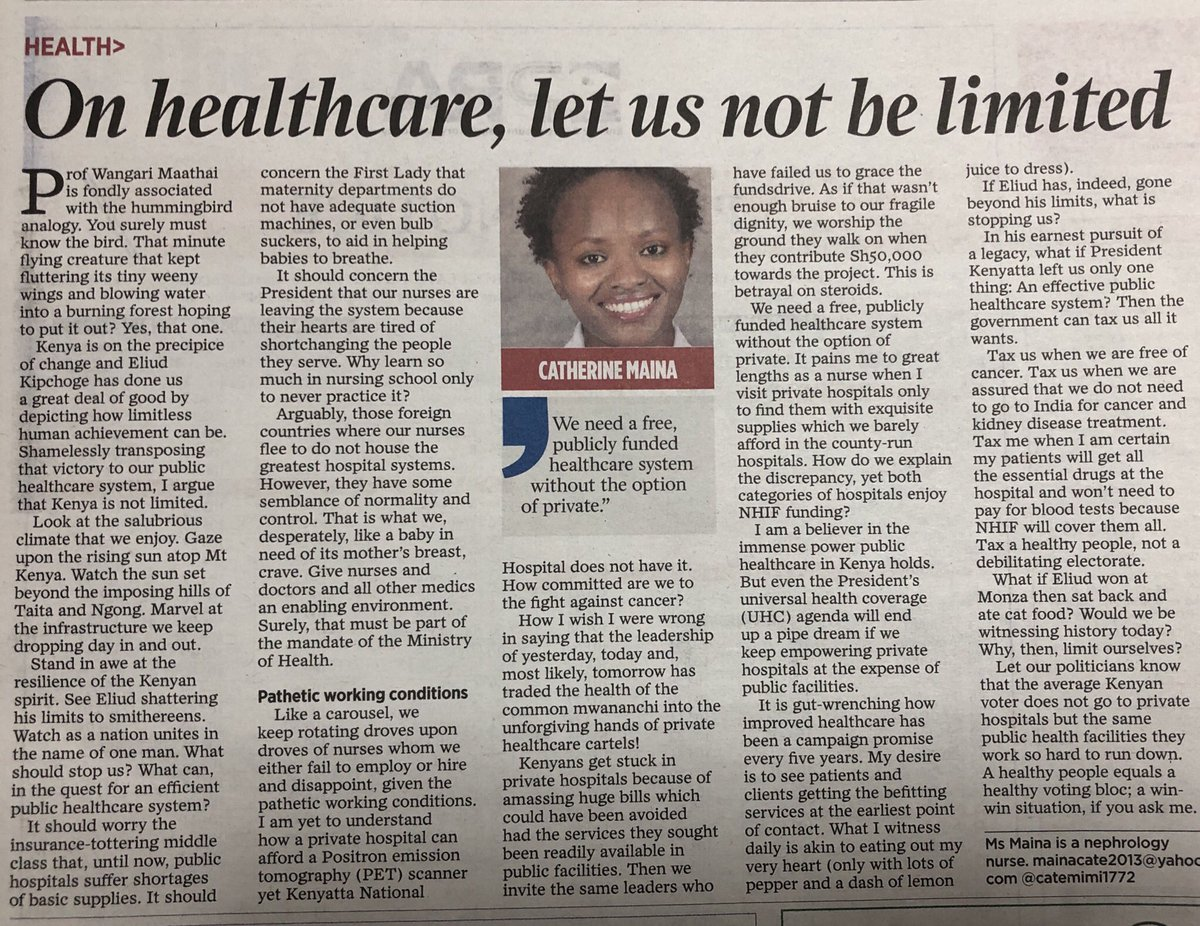 Great piece on #UHC by Ms Catherine Maina, a nephrology nurse- 'We need a free, publicly funded healthcare system' @KenyaMedics_KMA puts it this way - 'Kenya requires tax-funded, public-led & public-driven Healthcare to achieve #UHC' @LukoyeAtwoli @mdjkitulu @JKARAMANA @lizzgitau