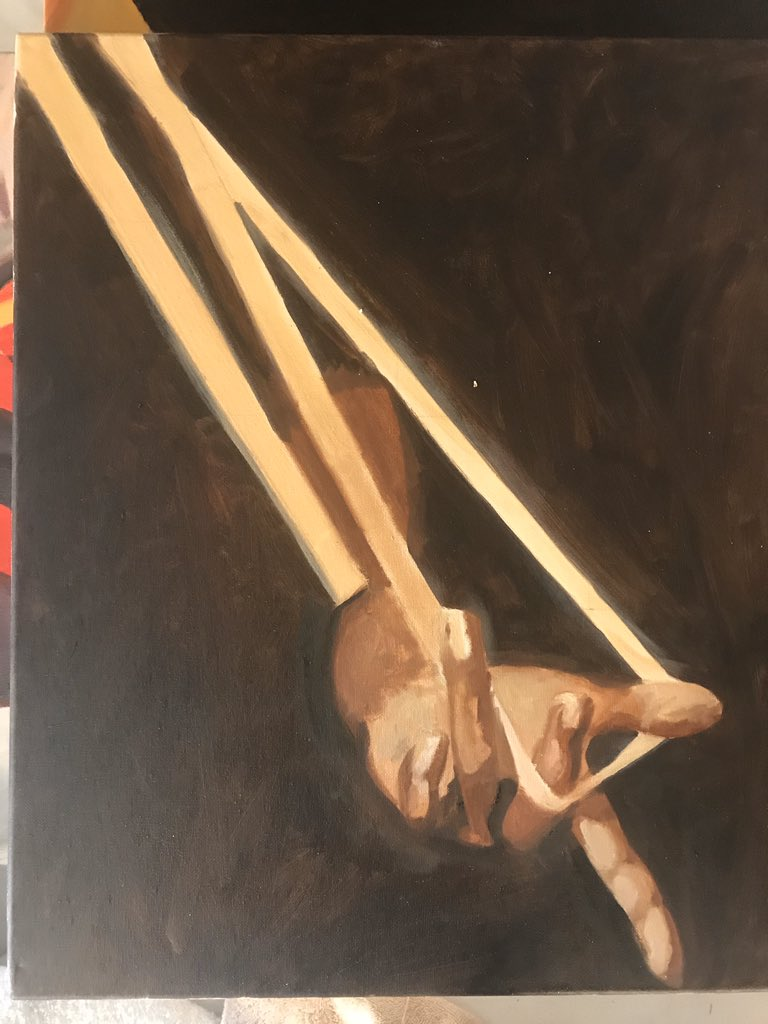 """Walked into the studio and found some old hand studies I never """"finished"""". The time away must've reset my brain because I think I'll just leave them as is. Look complete to me #oilstudies #oil #sketch #artist #blackartist #flemishpainting"""