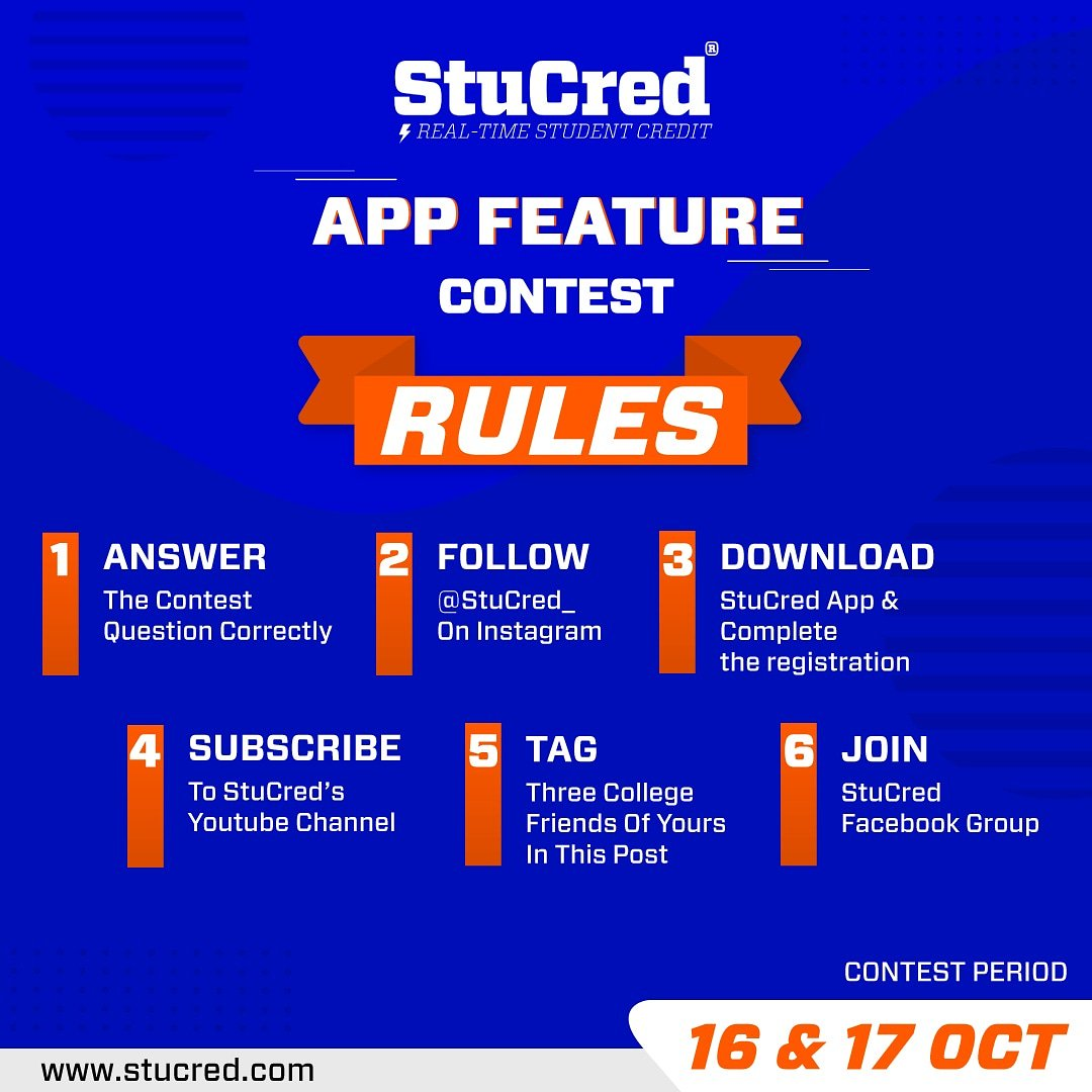 ⚠️ Attention students ⚠️   1️⃣ Day to go for🔥 #StuCred App Feature Contest 🔥. Participate in the #contest and win fabulous #prizes 🎁 worth Rs. 25,000/-.  Contest Dates: 16th and 17th Oct 2019  Go to our Insta feed to participate in the contest: http://instagram.com/stucred_