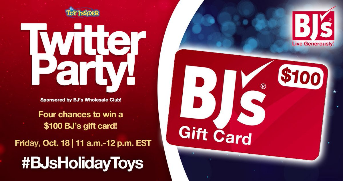 AD There's no party like a @BJsWholesale party! Join @TheToyInsider on FRIDAY at 11am ET for #BJsHolidayToys festivities!   RSVP & tweet along to #win: http://bit.ly/BJsWholesaleRSVP … #twitterparty #sweeps #prizes