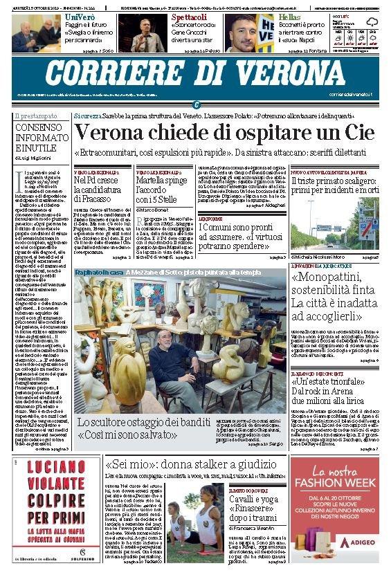 Buongiorno ecco la prima pagina del Corriere di #V...