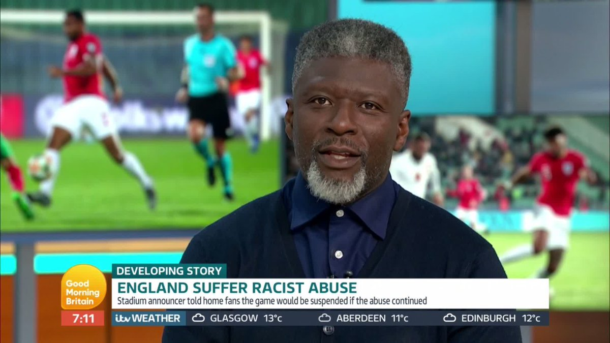 Nations have to be suspended and points have to be docked. Ex-footballer Paul Mortimer says teams should be suspended from tournaments as a sanction against fans for racist abuse towards players. What do you think needs to happen? 👇 #GMB | #Bulgaria