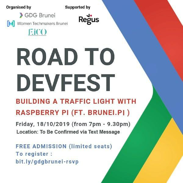 New Event! #RoadtoDevFest2019 #Brunei   Building A Traffic Light w/Raspberry Pi (ft. Brunei Raspberry Pi group)  Fri 18 Oct 2019, 7pm-9:30pm  Will be confirmed to attendees  Free hands-on workshop! Beginner programmers welcome  <br>http://pic.twitter.com/TyVOqDlusn