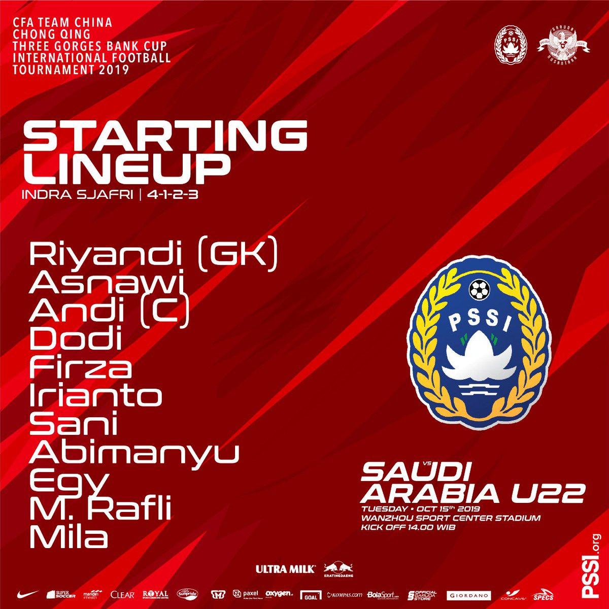 #TODAYMATCH #TurnamenU22 INDONESIA vs SAUDI ARABIA K.O 14.00 WIB RCTI LIVE