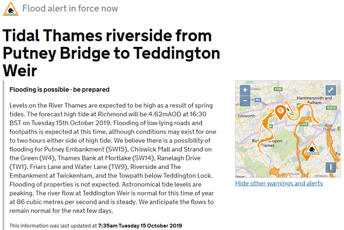 ⚠️ Low set of spring tides peaks today and combined with the rain of the past few days, levels from #Putney to #Teddington are likely to be high this afternoon. Ive issued a Flood Alert, for the tidal #Thames for areas including #Chiswick, #Richmond, #Mortlake and #Twickenham.