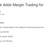 Image for the Tweet beginning: .@binance Adds Margin Trading for