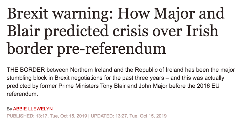 It takes special chutzpah for the Express to publish this turns out they were right piece today, while the piece they published on the day Major and Blair issued their warning in 2016 is still up on their website. ~AA