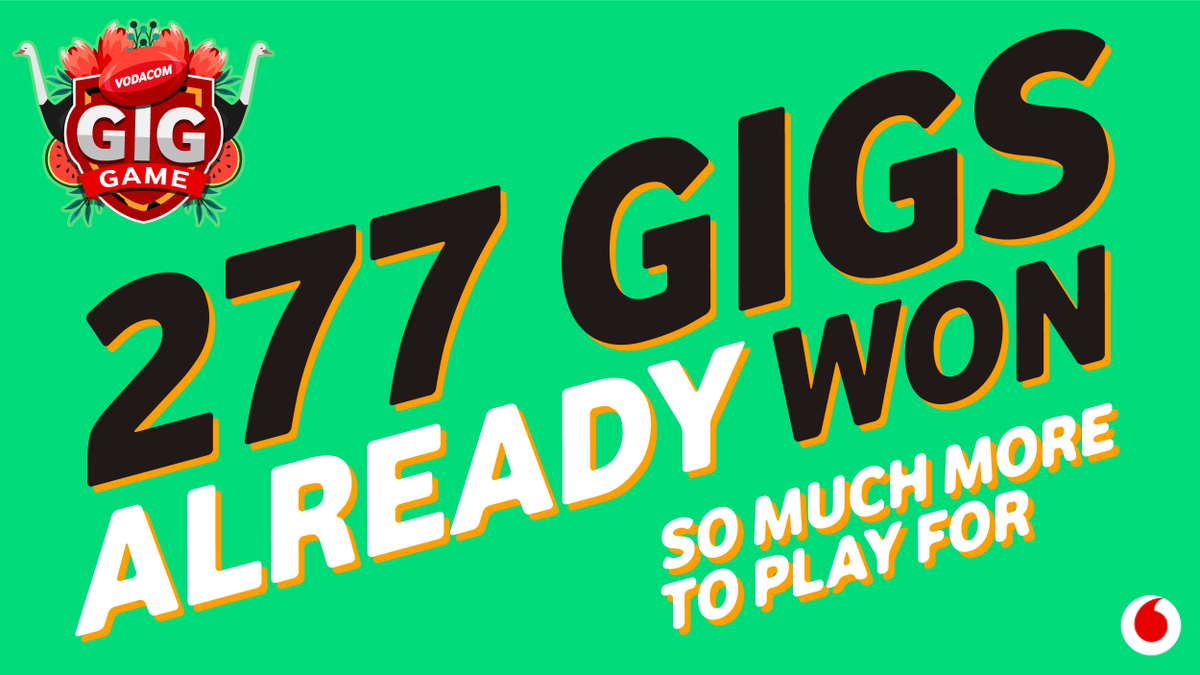 We've given away gigs on gigs in the Vodacom #GigGame – and the fun isn't over! We're headed into the business end of the #RWC2019, it's time for you to up the ante: RT this tweet to get an overlay on your profile pic & stand to WIN your share: bit.do/e8RHL T&Cs apply