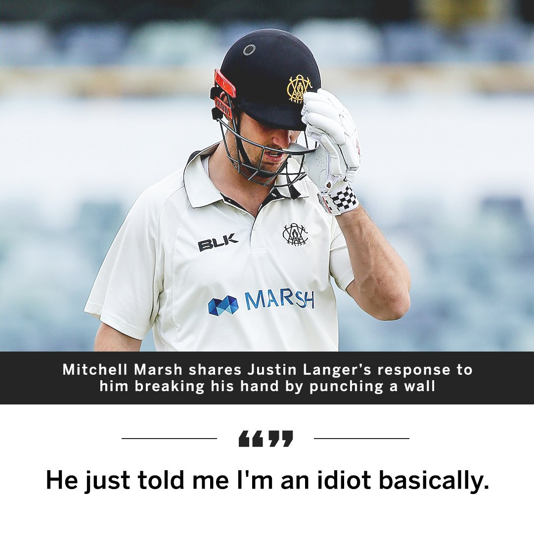 A succinct response from Justin Langer after Mitchell Marsh punched a wall and broke his right hand 🙈 es.pn/2nS2ab6