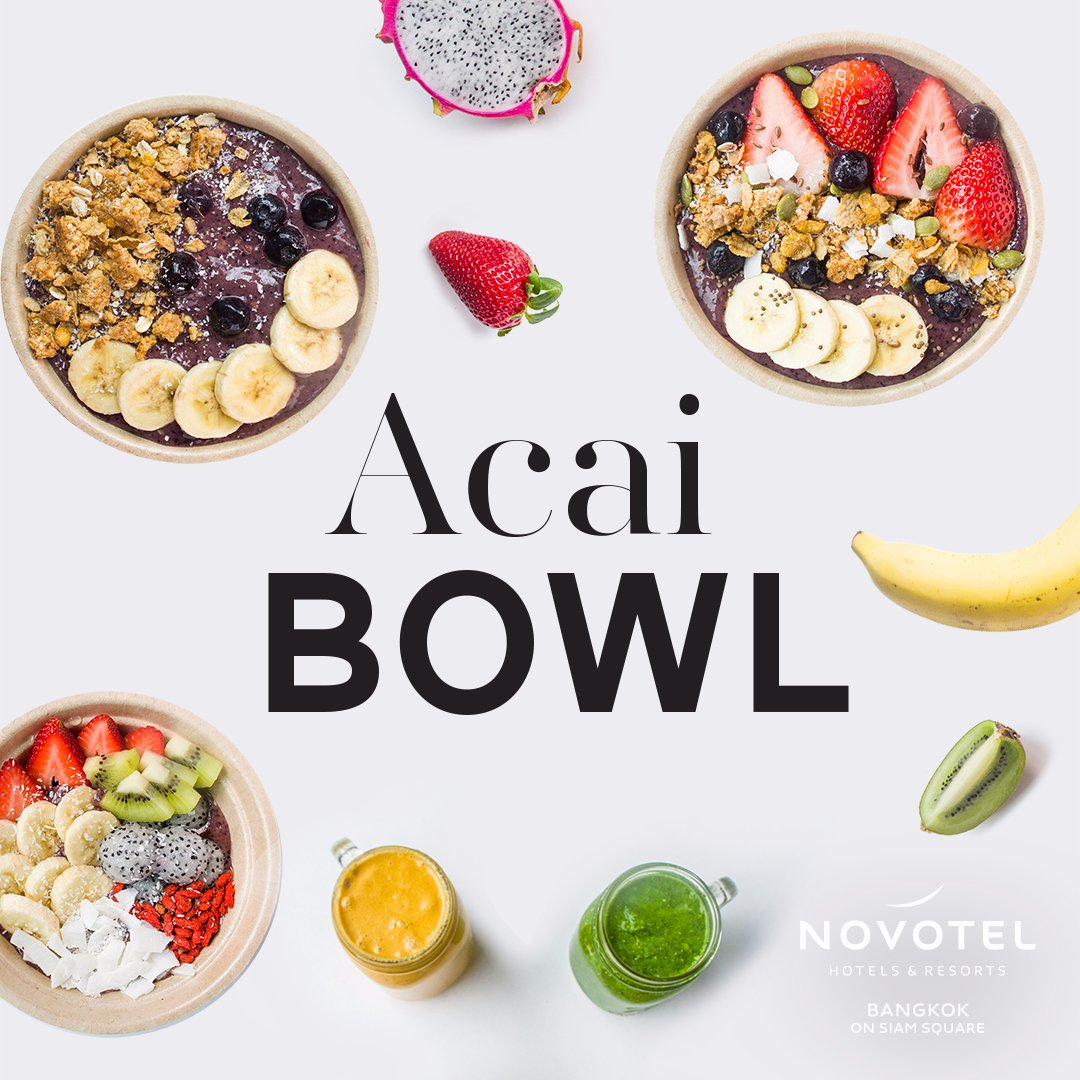 "Stay healthy with our refreshing ""Acai Bowls"", packed with antioxidant and full of protein. Starting now at Gourmet Bar!  https://t.co/RgcyL7JvMV #NovotelBkk #Acai https://t.co/cwb3efQYCY"