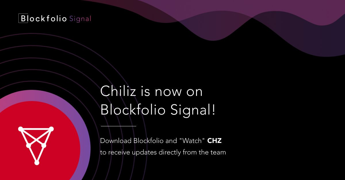 Chiliz ($CHZ) is now available on @blockfolio Signal 🌶️!Keep track of everything Chiliz & http://Socios.com  related and receive push notifications for important news 😎#BlockfolioSignal #Blockfolio