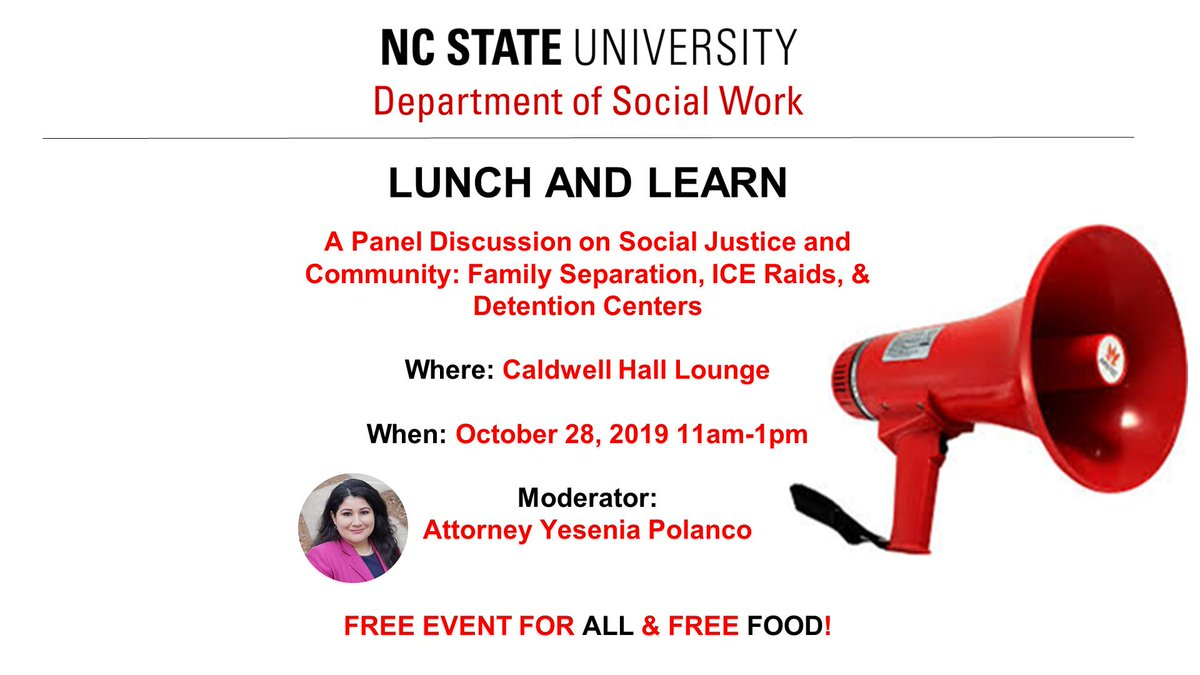 """We're less than two weeks away from our FREE Lunch & Learn Program! Join us for an in-depth discussion on the topic of """"Family Separations, ICE Raids, and Detention Centers"""" on October 28, from 11:00 AM - 1:00 PM in Caldwell Hall Lounge! <br>http://pic.twitter.com/oNLNxt5l9v"""