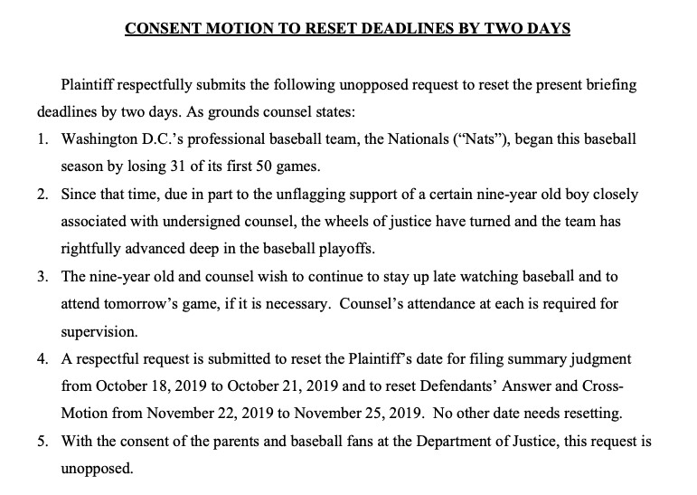 """A lawyer asked a judge for a brief extension due to the @Nationals' playoff run, citing """"unflagging support of a certain nine-year old boy"""" who wants to watch the games.  """"With the consent of the parents and baseball fans at the Department of Justice, this request is unopposed."""""""