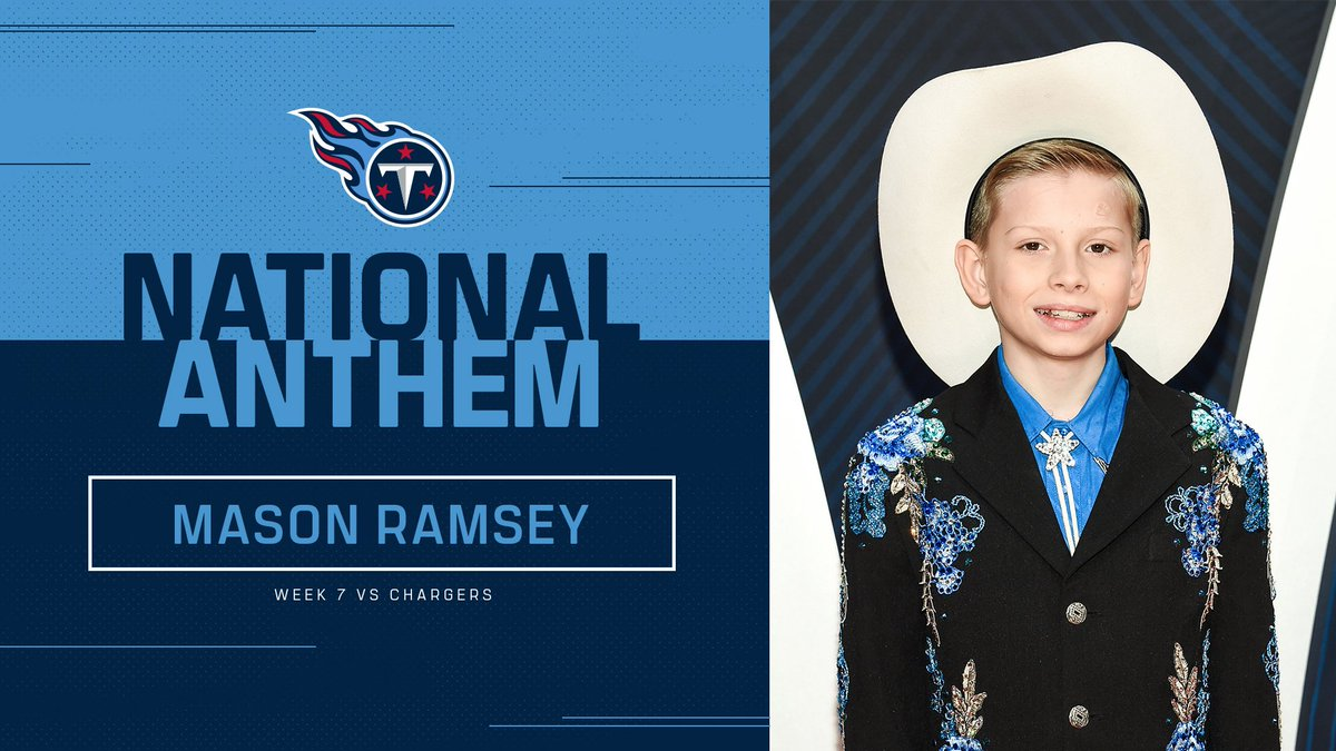 Mason Ramsey (@masonramsey) will perform the National Anthem before Titans vs. Chargers. 🇺🇸 #LACvsTEN https://t.co/gZCOiC4EQ7