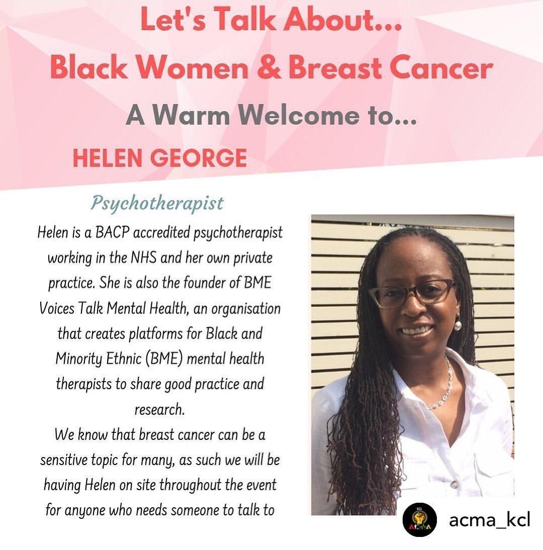 Check out @Helen_George_ for eventbrite link. #Cancer #BreastCancerAwarenessMonth #BreastCancerAwareness #breastcancer #cancersurvivorship #chronicillness #mindbodylink