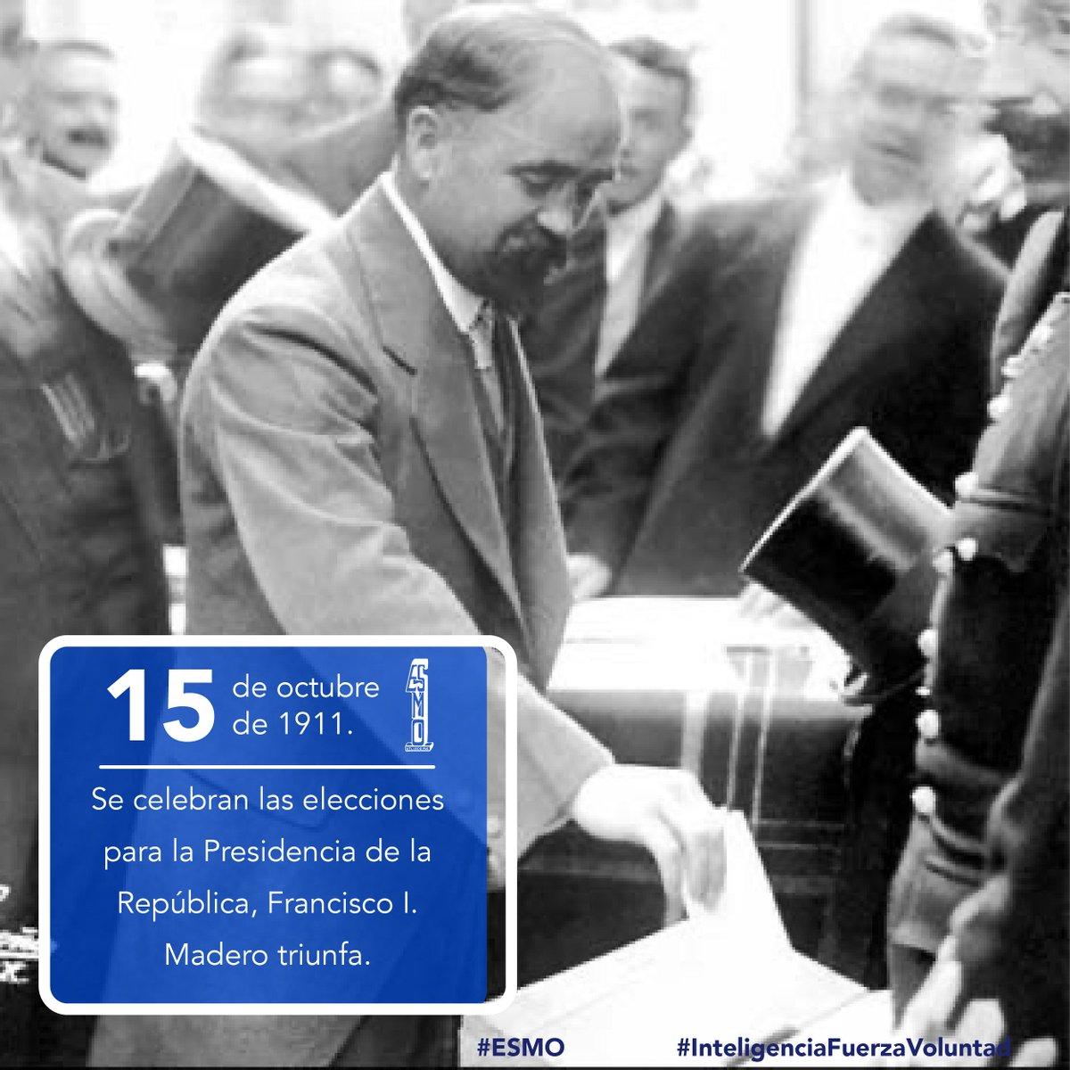 🗓 15 de octubre de 1911 🇲🇽 Se celebran las elecciones para la Presidencia de la República, Francisco I. Madero triunfa.  #ESMO #InteligenciaFuerzaVoluntad #HacerHistoriaHacerFuturo #Atlixco #Puebla #México #NuevaEscuelaMexicana #EducaciónBásica #AccionesPorLaEducación