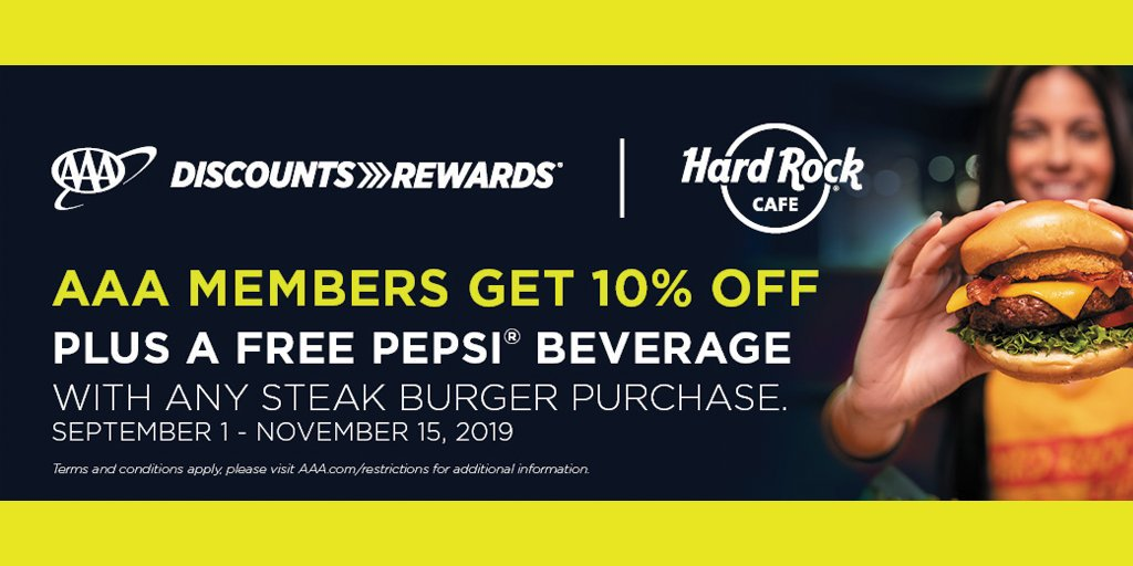 Use your #AAADiscounts to get 10% off, plus a free Pepsi® beverage with any steak burger purchase now through 11/15/19 @HardRock Cafe in the Mall of America.  Visit  for details and terms.